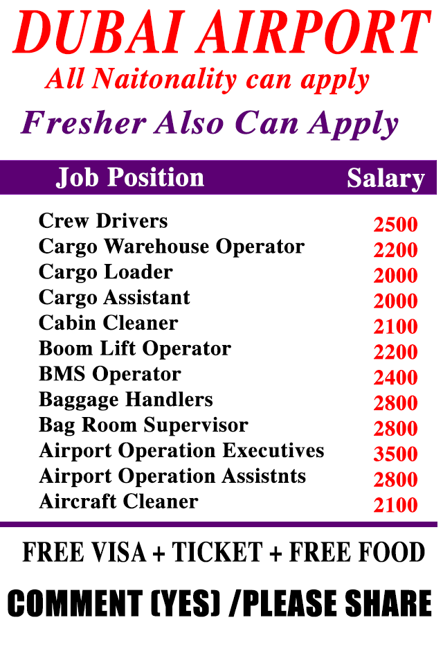 Airport Job Opening in Dubai, Trolley boy , Assistant BMS