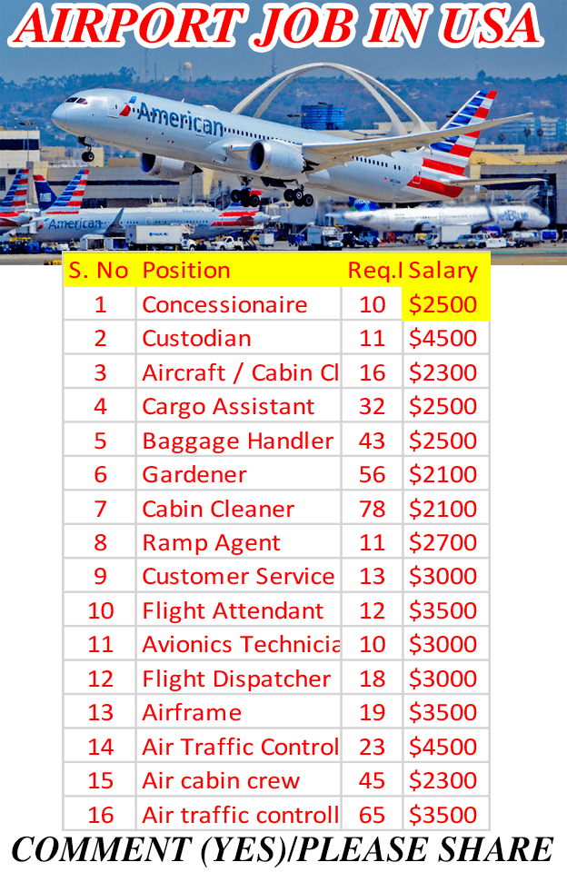 Airport Job Openings in the USA, Aircraft Cleaner , Ground Staff