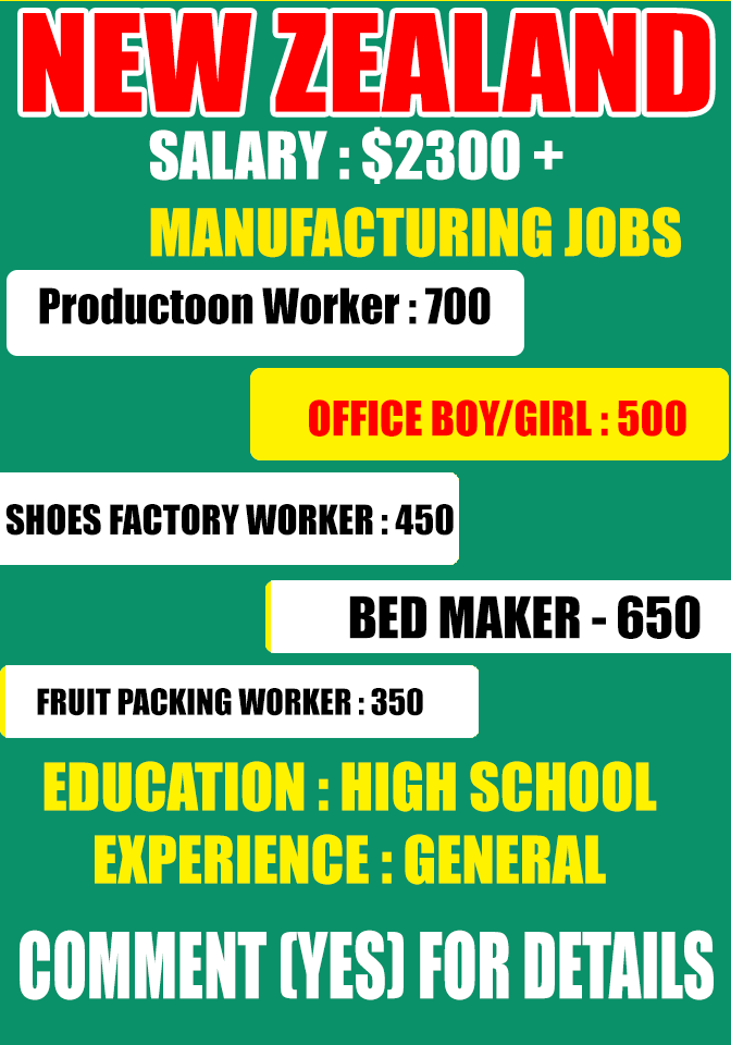 Manufacturing Job Opening in New Zealand , Factory Worker