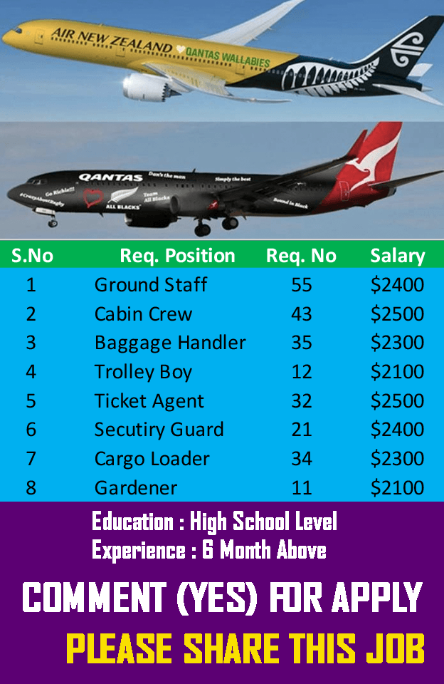 Job in Air New Zealand, airlines job , cargo job , cabin